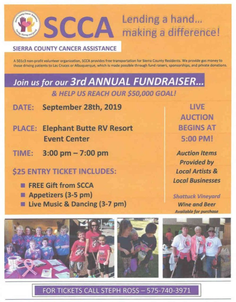 September 2019 fundraiser for Sierra County Cancer Assistance